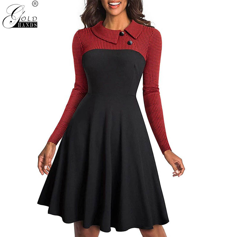 Gold Hands Autumn Winter New Arrival Full Sleeve Plaid Casual Turn-down Collar Patchwork Knee-Length A-Line Dresses