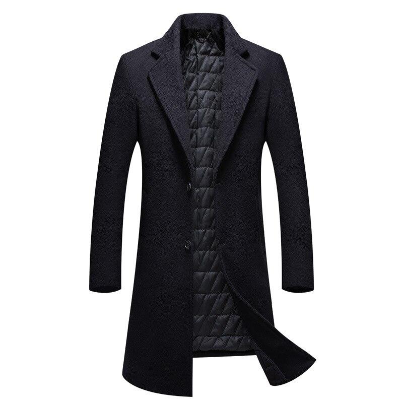 2020 Long Thicken Turn Down Collar Wollmantel Herren Good Quality Single Breasted Black Coat Men