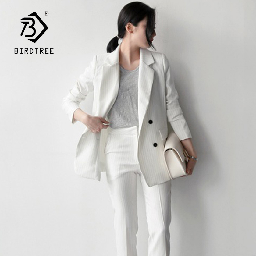 Women's Double Breasted Striped White Black Pant Suit Blazer & High Waist Pants Elegant Office Lady Classic Loose Suits S87445X