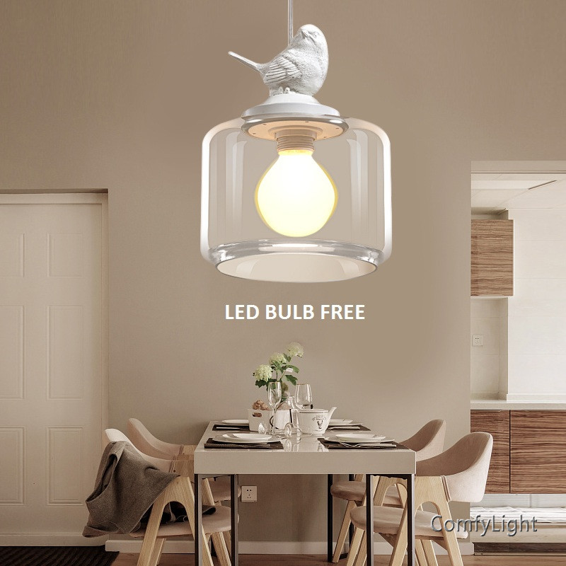 Creative LED Glass Pendant lamp Contracted Contemporary Retro Art Suspension Luminaire foyer/Cafe/Restaurant/shop Study Lamp vintage bird pendant light glass pendant lights contemporary creative retro art glass cafe restaurant study lamps