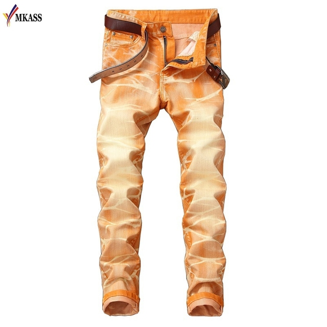 nuevo concepto 28319 c8a9c 2018 New Fashion Denim Pants Solid Slim Fit Jeans Men Design Washed Retro  Long Stretch Skinny Jeans 5 colors Hombre Biker Jeans-in Jeans from Men's  ...