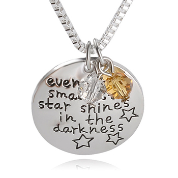"""Stamped Necklace """"Even the smallest star shines in the darkness"""" Lucky Beads Pendant Necklace Inspirational Jewelry For Child"""