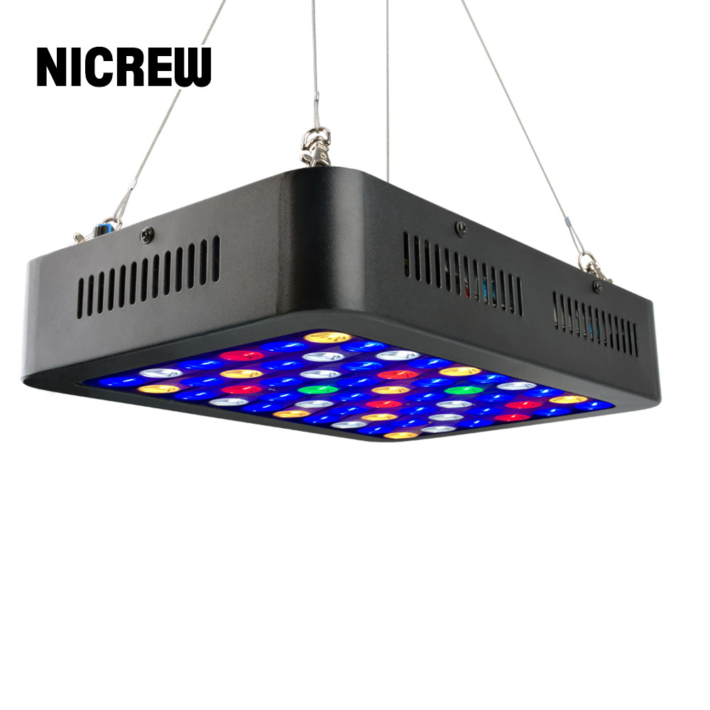 NICREW LED Reef Light Dimmable Full Spectrum 165W Marine Light for Coral Fish Tank, White and Blue Lighting ChannelsNICREW LED Reef Light Dimmable Full Spectrum 165W Marine Light for Coral Fish Tank, White and Blue Lighting Channels
