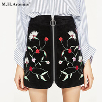 M H Artemis Women Faux Suede Short Skirt Ethnic Embroidery Boho Chic High Waist Zipper Slim