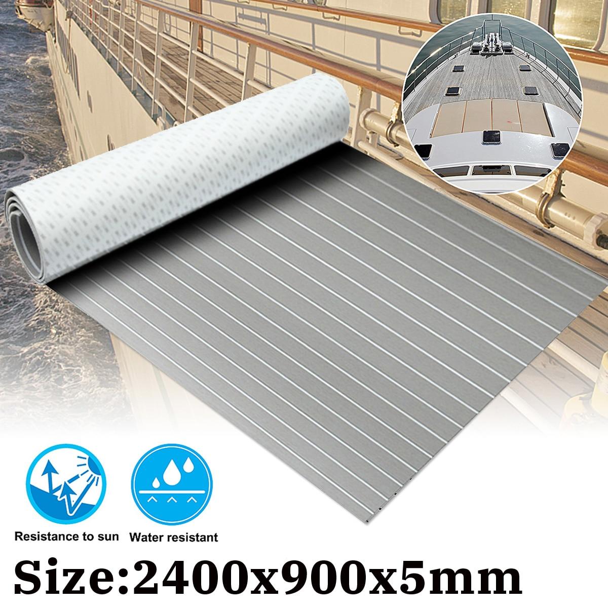 240cmx90cmx5mm Self-Adhesive Teak Decking EVA Foam Marine Flooring Faux Grey White Lines EVA Foam Boat Decking Sheet Accessories