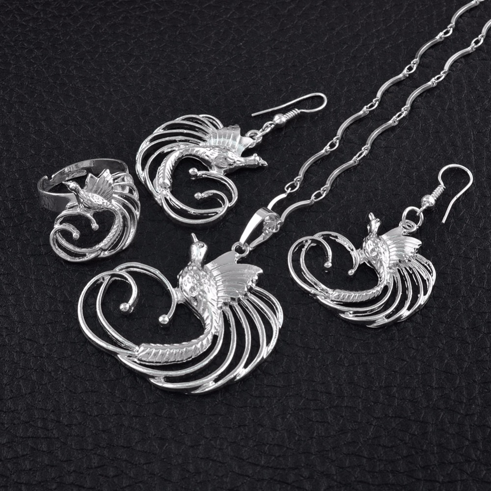 Anniyo PNG Silver Color Bird of Paradis Pendant Necklaces Earrings Ring Papua New Guinea Ethnic Jewellery Sets #109506B