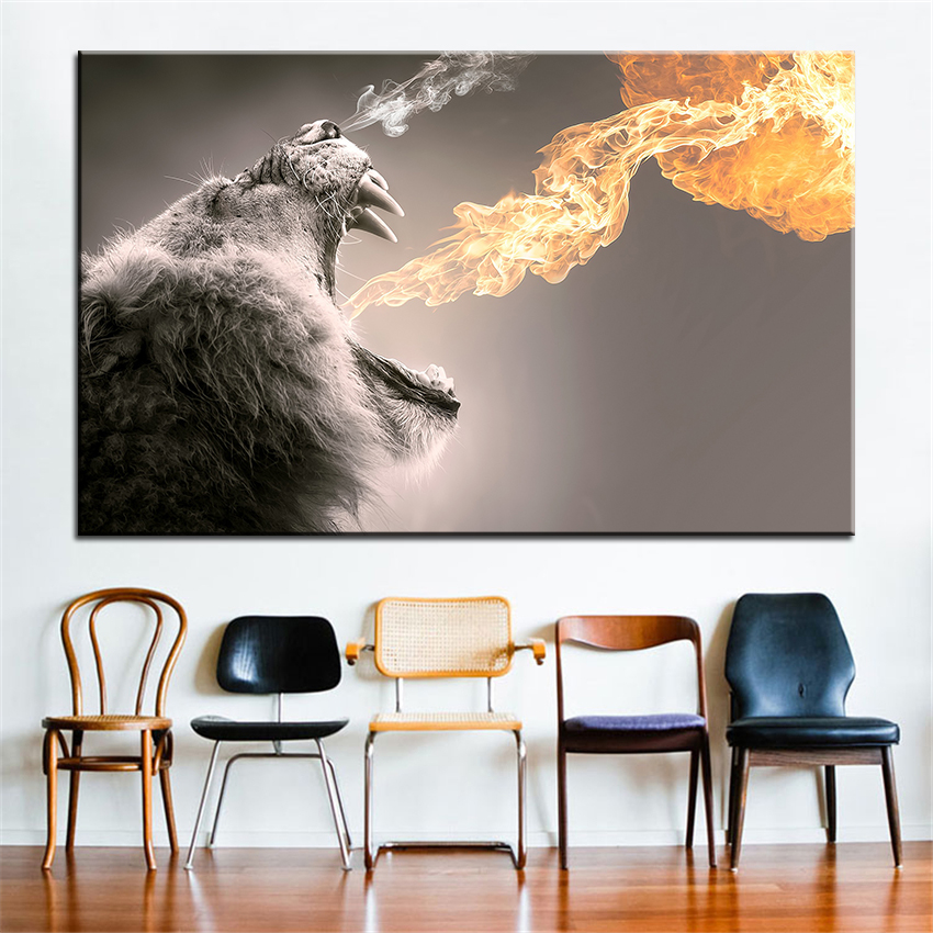 Large size Printing Oil Painting roar Wall painting Decor Wall Art Picture For Living Room painting No Frame