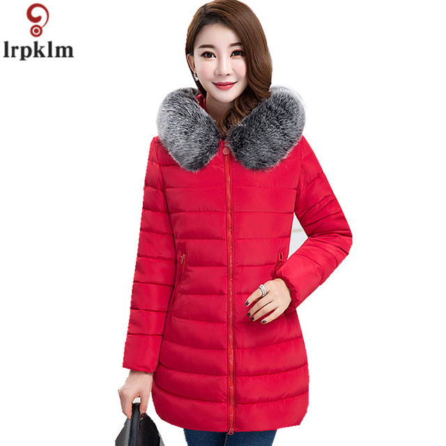 27bf2d139 Aliexpress.com : Buy 7XL Winter Coat Women Long Cotton Padded Down Jackets  Ladies Hooded Red Plus Size Loose Coats Colourful Fur Collar LZ976 from ...