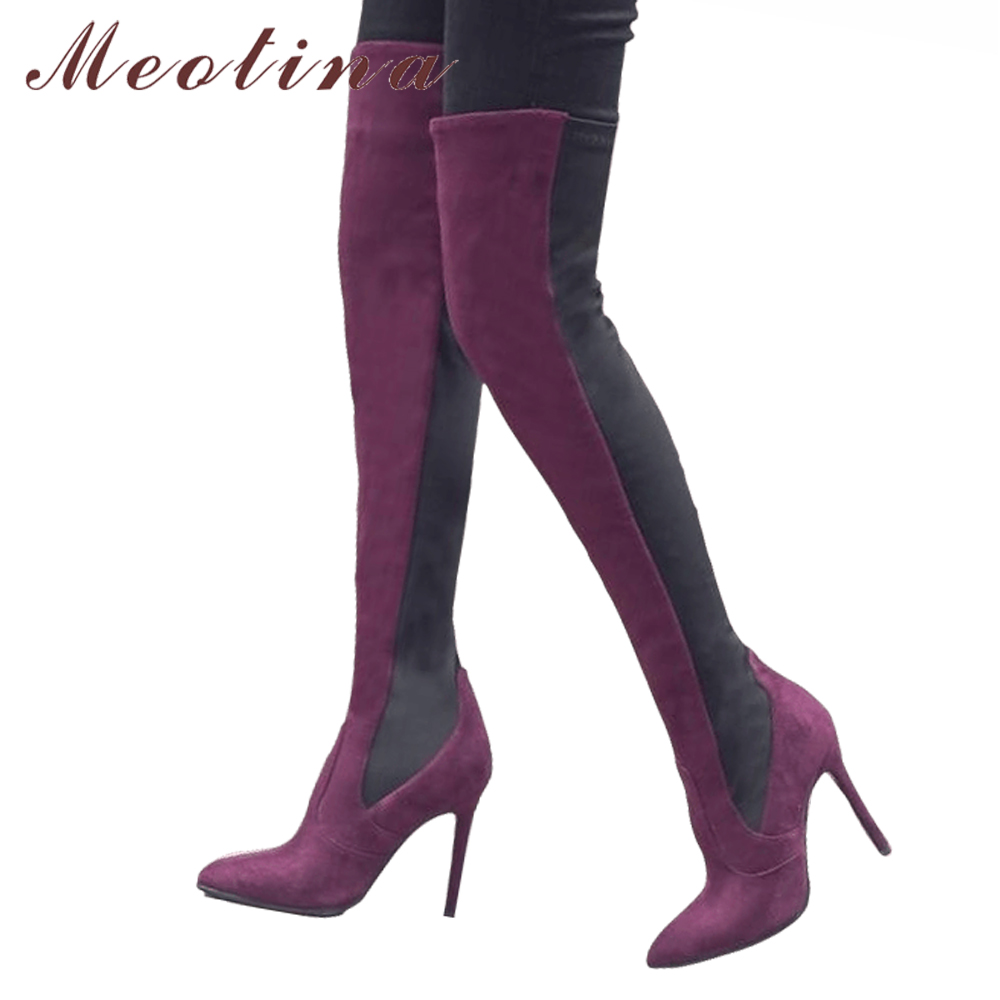 Meotina Over the Knee Boots Winter Women Thigh High Boots Elastic Fabric High Heel Boots Pointed Toe Sexy Ladies Shoes Red BlackMeotina Over the Knee Boots Winter Women Thigh High Boots Elastic Fabric High Heel Boots Pointed Toe Sexy Ladies Shoes Red Black