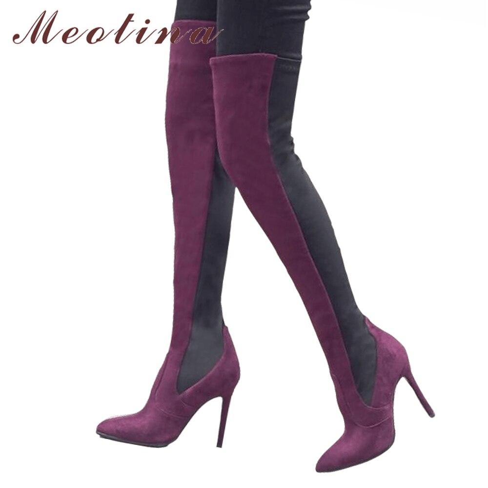 Chaussures Pointu Cuissardes Sexy Bottes Noir Tissu Noir À Talons Le Rouge Genou Femmes Bout ardoisé Hauts D'hiver Dames Meotina vin Sur Élastique Op6qBUa