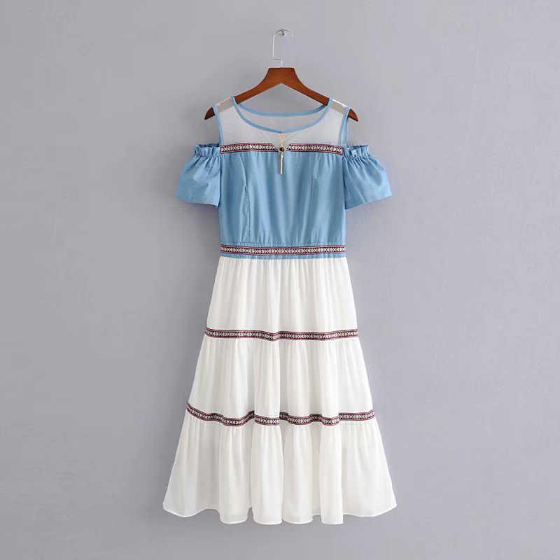 BIAORUINA женское индийское народное джинсовое платье с открытыми плечами в стиле пэчворк ТРАПЕЦИЕВИДНОЕ ПЛАТЬЕ С Высокой Талией модное платье в полоску Vestidos с круглым вырезом