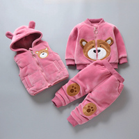 Kids Winter Coat Thick Warm Toddler Girls Clothing Sets Hooded Waistcoat+Jacket+Pants Velvet Baby Boy Outfits Suit Child Parkas