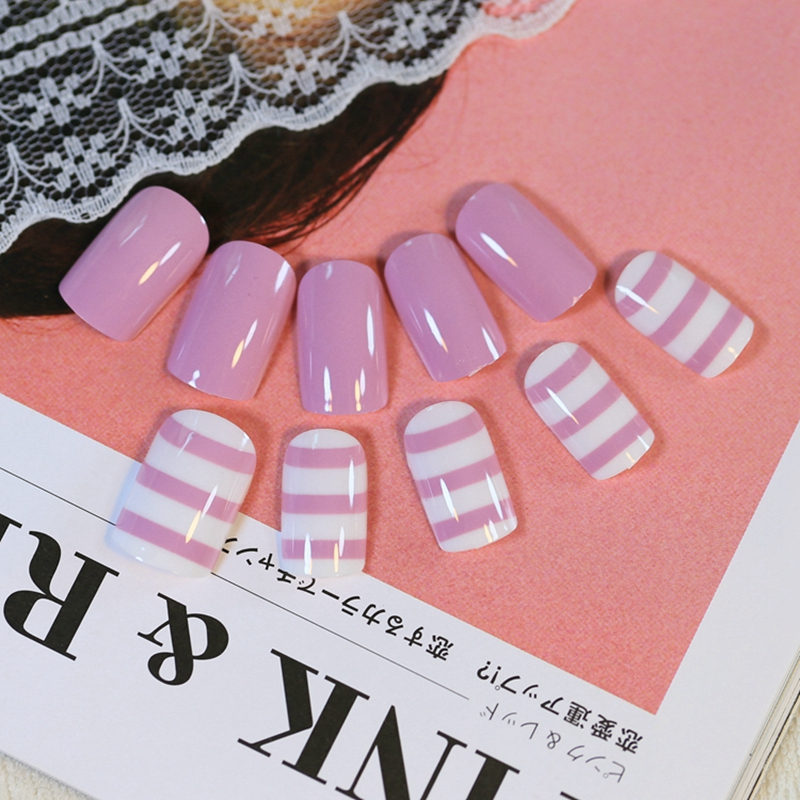 Shiny Flat False Nails Tips Light Purple Horizontal Stripes Nail ...