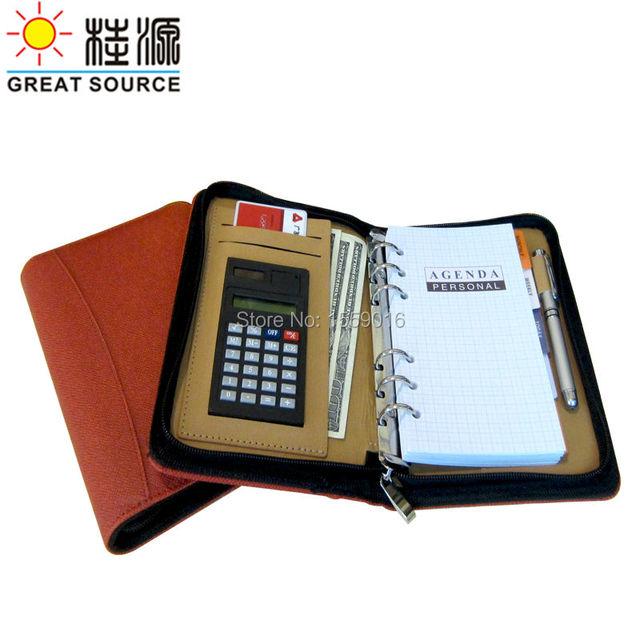 Great Source A6 Leather A6 notebook calculator pen holder card holder  2018-2019 calendar planner agenda Free shipping
