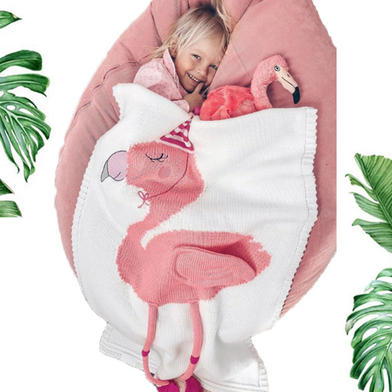 2018 Toddler Boys Girls Knitted Blanket Flamingos Sleeping Swaddling Blankets Baby Bed Cover Soft Bath Towel Kids Wrap Beach Mat cammitever 180x90cm wave mermaid tail blankets soft sleeping bed handmade anti pilling portable blanket for autumn