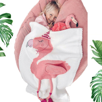 2018 Toddler Boys Girls Knitted Blanket Flamingos Sleeping Swaddling Blankets Baby Bed Cover Soft Bath Towel Kids Wrap Beach Mat