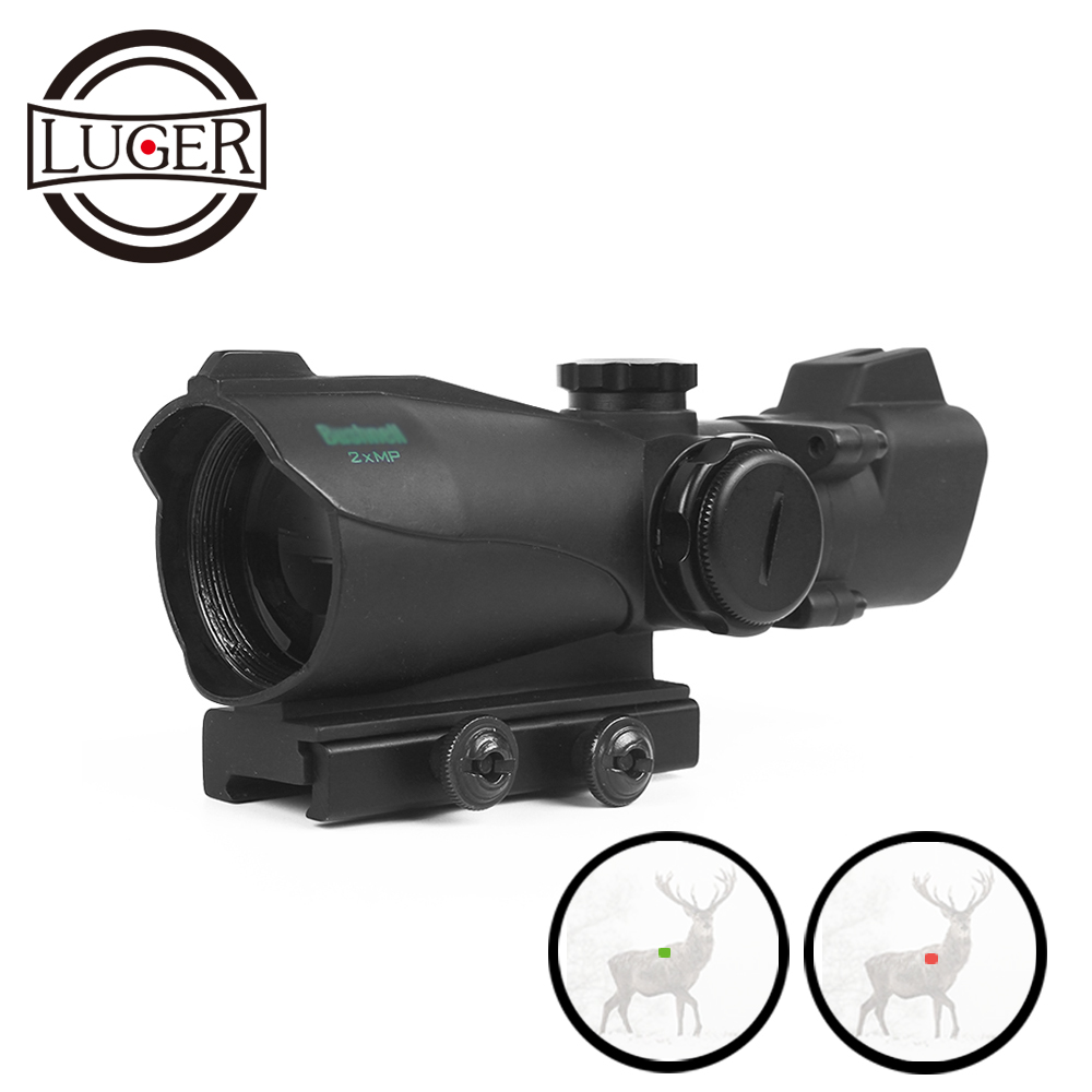 LUGER Red Dot Rifle Scope 2x Magnification Hunting Riflescope Reflex Green Red Dot Sight With 20mm Picatinny Weaver Mount
