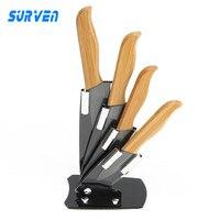 SURVEN Brand 4 In 1 Zirconia Ceramic Knife Set 3 4 5 6 Inch Black Blade