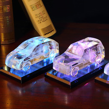 New style colorful luminous crystal car model decoration, home desktop interior DIY craft gift