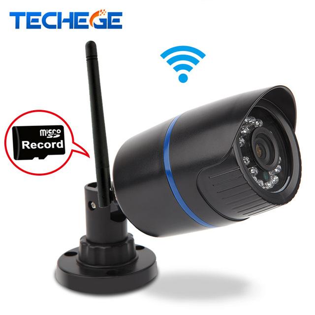 Techege wifi cámara ip 720 p red de infrarrojos bala impermeable al aire libre ip66 p2p onvif visión nocturna 1.0mp wifi motion detección