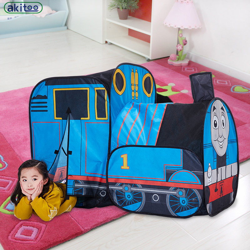 New Arrival  Small Train Child Tent Indoor & Outdoor Baby Game House Puzzle Birthday Gift Folding Early Education Toys