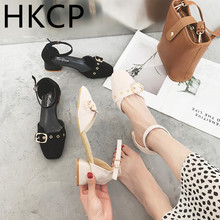 HKCP Fashion 2019 spring/summer new high heel sandals waterproof platform one word buckle round head thick shoes C330