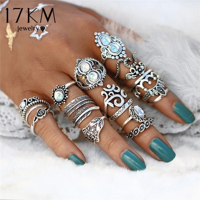 17KM Vintage Hand Knuckle Opal Finger Ring Set For Women Leaf Flower Heart Crown