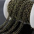 2mm Black Cube Beads Chain,Gold plated Wire Wrapped Rosary style Chain Necklace Charms bracelet Jewelry Findings
