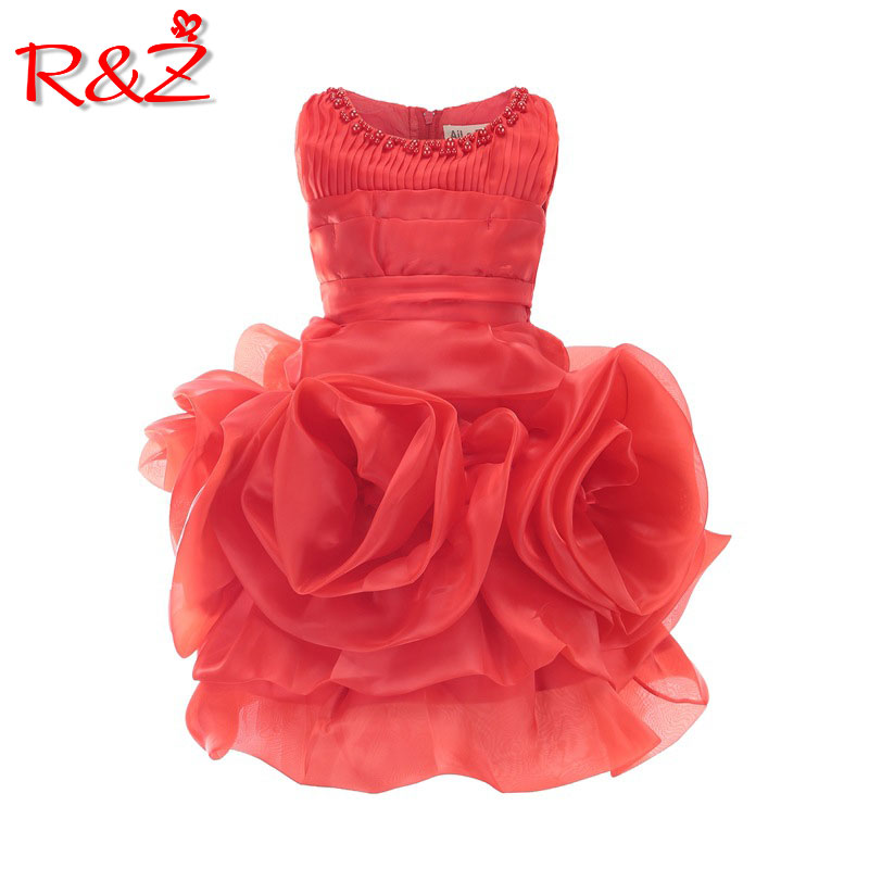 R&Z 2019 summer new princess   dress     girl   round neck pearl sleeveless   dress   wedding   flower     girl     dress