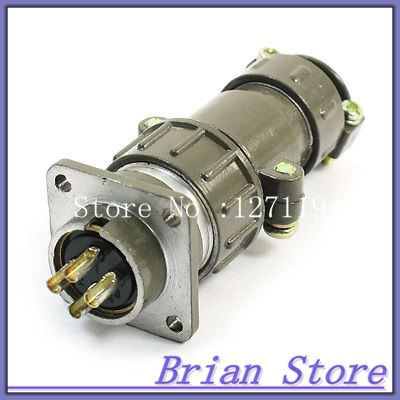 Flange Mounted P20-4 Core 20mm 4 Pin CNC Metal Aviation Connector army green metal y2m 50tk 50 pin aviation connector new