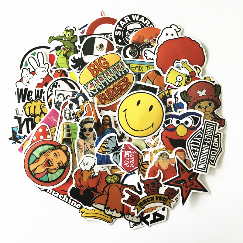 10 style waterproof 60Pcs cartoon Drawing Style Sticker Decal For Snowboard Luggage Car Fridge Car- Styling Laptop Stickers