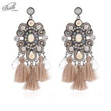 Badu Women Ceramic Earring Big Statement Long Fringed Ethnic Colorful Earrings Fashion Jewelry Gift for