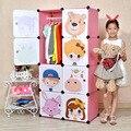16 Cubes Simple Cartoon Children Hanging Wardrobe Closet Kids Closet Organizer Childrens Wardrobe Storage Boxes Bins Device