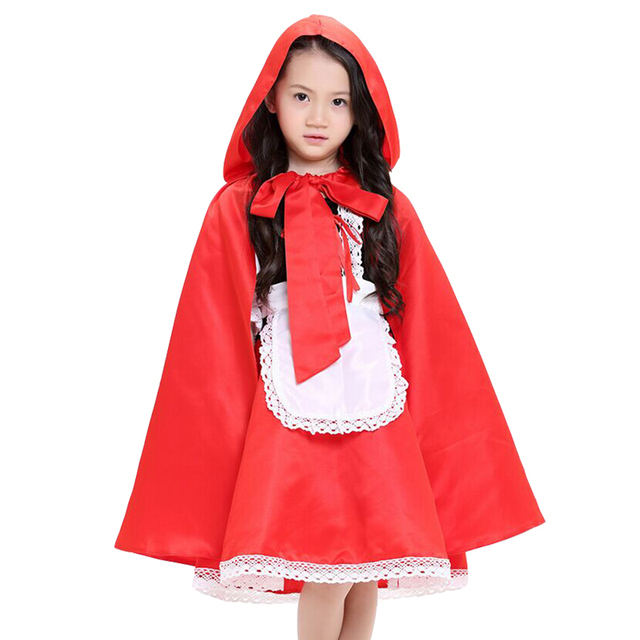 7c28a553b9d Christmas Cosplay Fantasia Carnival fancy dress halloween costume for kids  princess little red riding hood cape