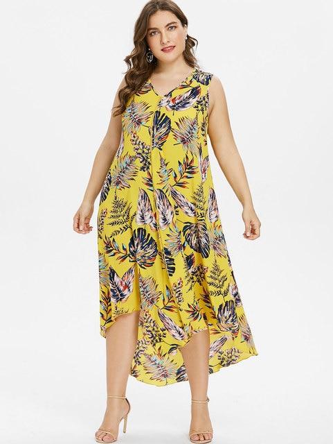 b9e033b644014 Gamiss Plus Size Leaf Print Sexy A Line Maxi Dress Elegant V-Neck ...