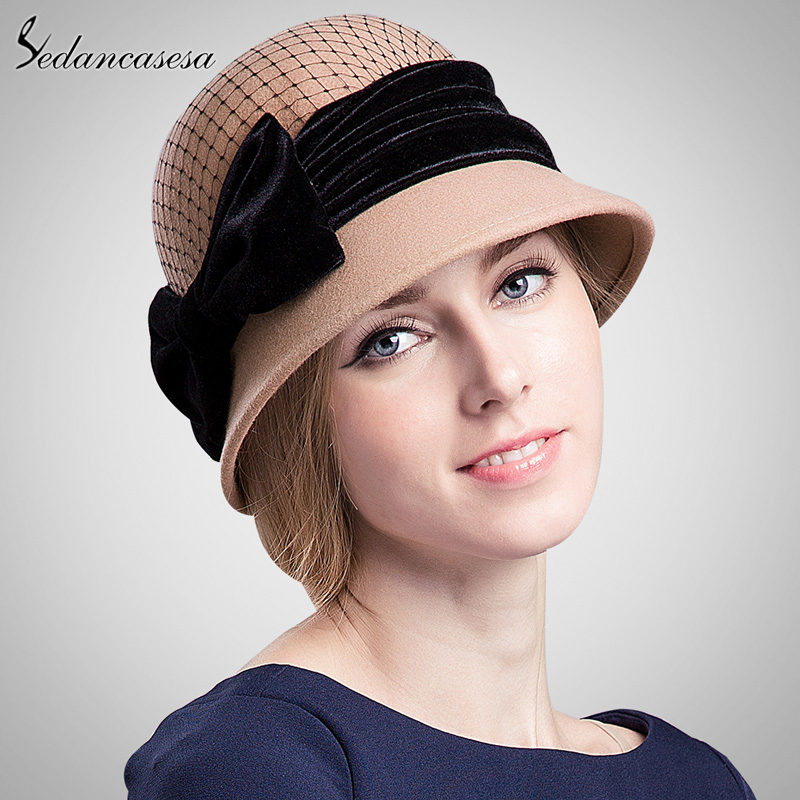 811cca77dc2 Detail Feedback Questions about Sedancasesa Women s cloche hat fashion  Autumn Winter keep warm cute bowknot wool felt bucket hats for girls wool  cap ...