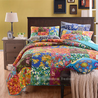 American style 100% cotton applique patchwork quilt full queen size 3pcs export bedspread/coverlet Free Shipping