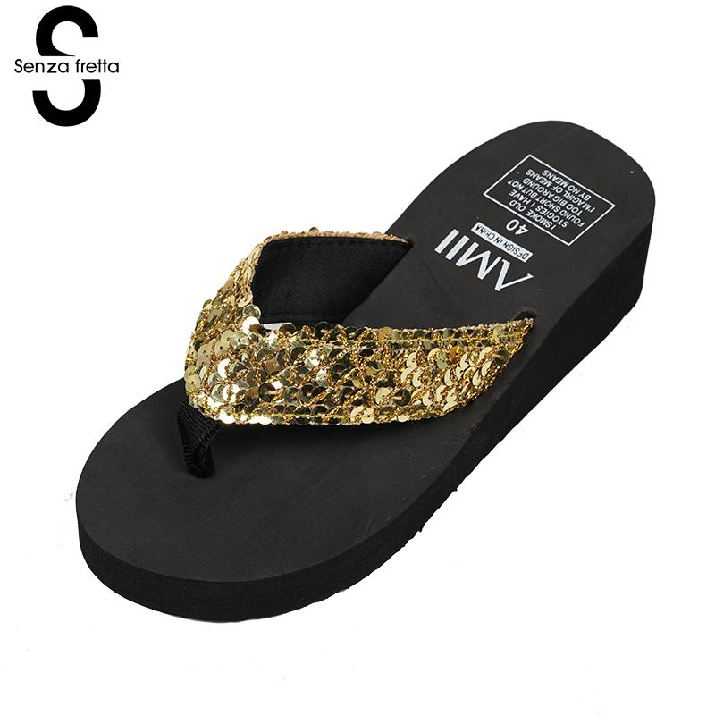 Senza Fretta Summer Flip Flops Woman Shoes Wedges Beach Shoes Sandals Flip Flops Bling Sequins Slippers Flip Flops Shoe Women lanshulan bling glitters slippers 2017 summer flip flops shoes woman creepers platform slip on flats casual wedges gold