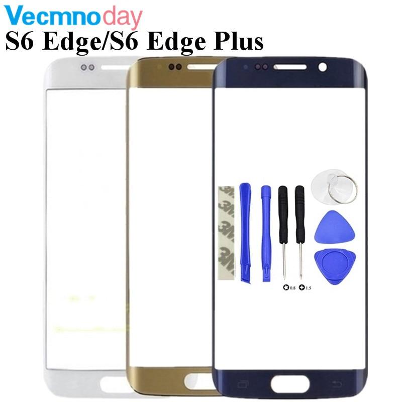 Anteriore Esterno della Lente di Vetro di Ricambio Per Samsung Galaxy S6 Bordo G925/S6 Bordo Più G928 G928F/S7 Bordo g935 di Tocco di Vetro + Strumenti