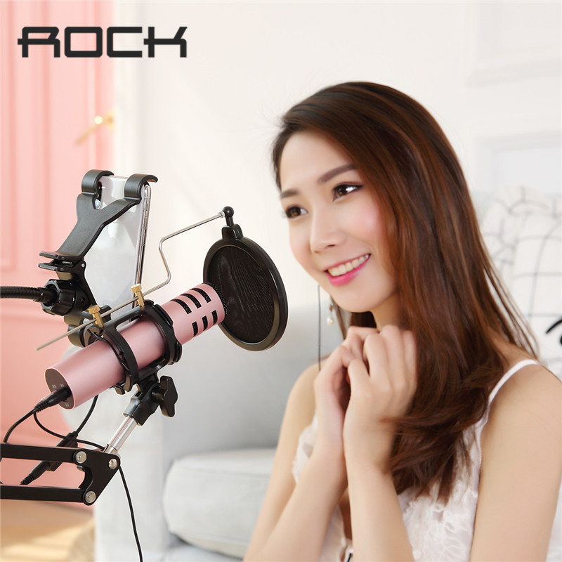 ROCK Karaoke Microphone for Smartphone Speaker 3.5mm Jack Dynamic Wired Durable Professional Condenser professional wired