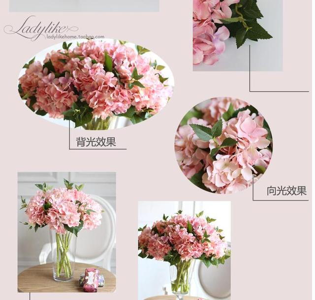 10pcs high grade hydrangea flower household adornment silk flowers