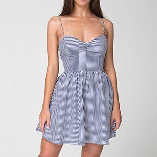 Vestido a rayas azul elegante para mujer, vestido sexy con espalda descubierta y tirantes finos, vestido informal ajustado