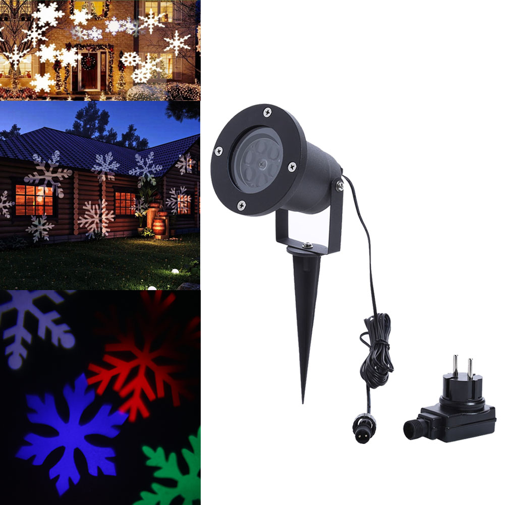 Waterproof IP64 110-240V Snowflake Laser Projector Lamps LED Stage Light for Christmas New Year Party Lawn Garden Lamp EU Plug newyear waterproof led snowflake laser projector lamps stage light christmas party garden home decoration outdoor
