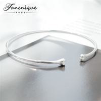 Fancnique 925 Sterling Silver Fashion Lucky Bones Thin Bangle Bracelet Adjustable Lovers Jewelry