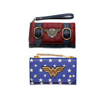 wallet women vintage DC Comics Wonder Woman long  pattern printing flower girl PU leather money clip
