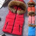 Nuevo Diseño de Cuello de Piel de Las Mujeres Chaleco de Down Con Capucha Chaleco Sin Mangas Chaqueta de Invierno Abrigo Para Mujer Ropa Casual Más Tamaño MZ734