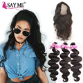 Pre Plucked 360 Lace Frontal Closure With Bundles 8a Malaysian Virgin Hair With Frontal Closure Body Wave 4pcs Weft Human Hair