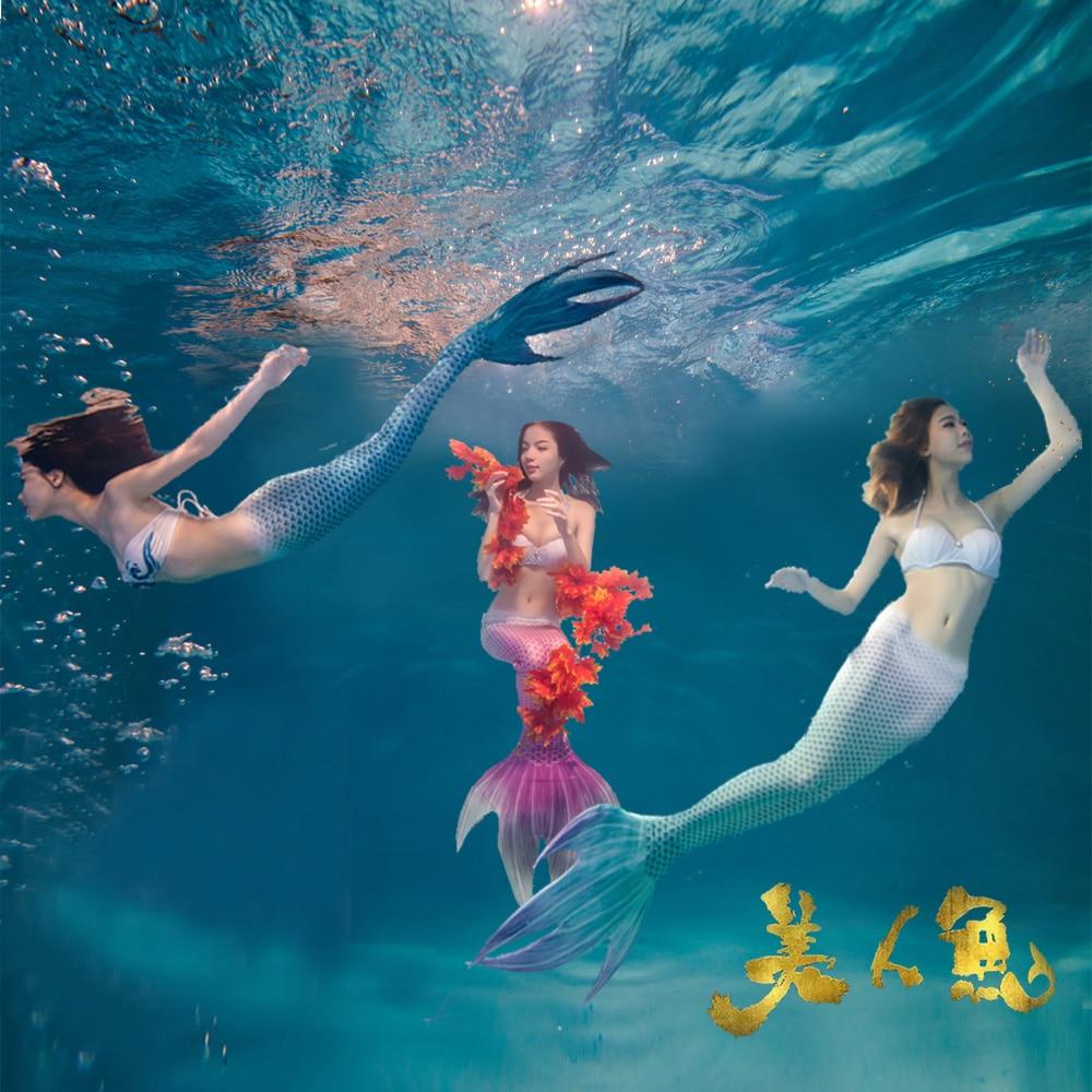 2PCS Mermaid Tail Kostüm mit Monoflosse für Erwachsene Frauen - Kostüme