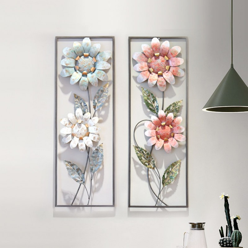 Flower Iron Cage Wall Hanging Mural Home Crafts Decor 3D Stereo Office House Background Wall Sticker Decoration R1203 - 2
