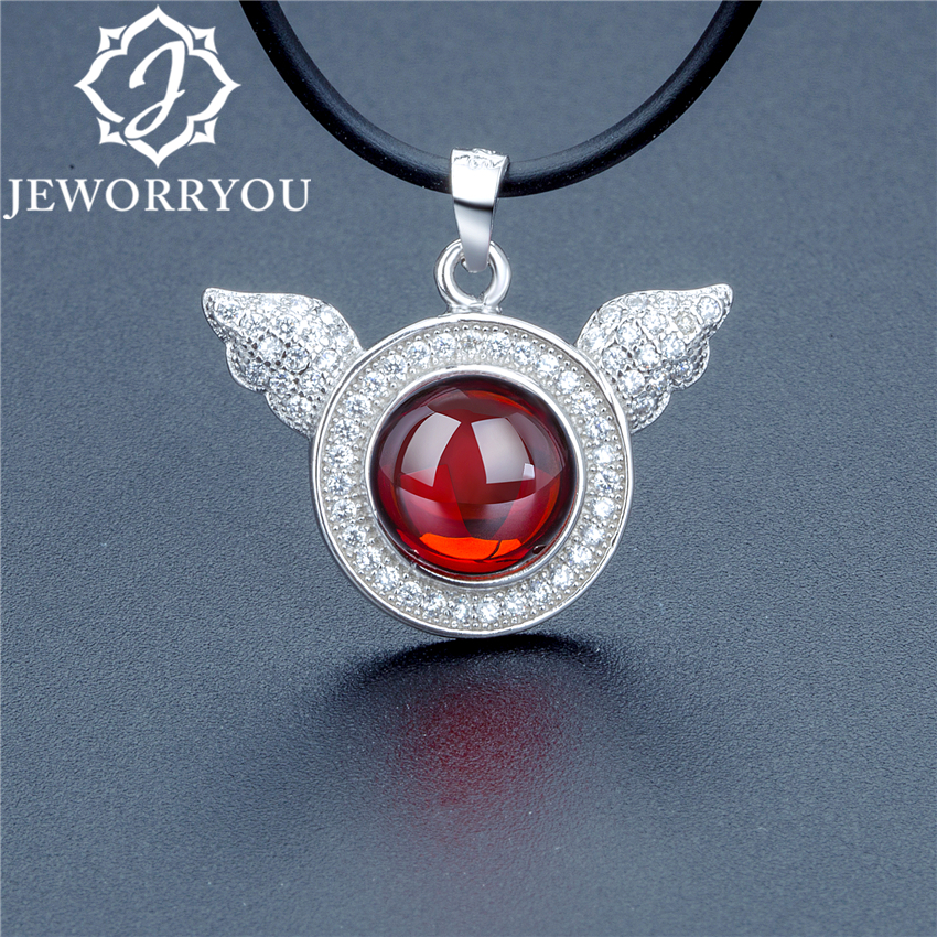 18x24mm Angel Wings Natural Garnet Necklaces Pendants For Women Girls 925 Silver Stone Charm Necklace Women necklaces ketting